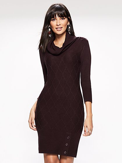 Cowl-Neck Sweater Dress - New York & Company