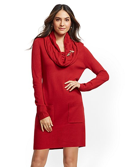 Cowl-Neck Tunic Sweater Dress - New York & Company