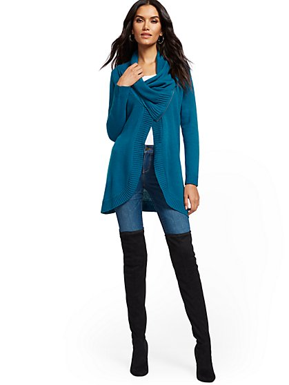 Cowlneck Zip-Front Cardigan - New York & Company