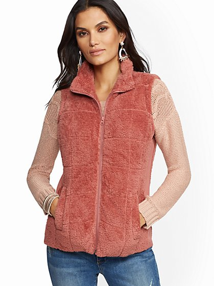 Cozy Sherpa Quilted Vest - New York & Company