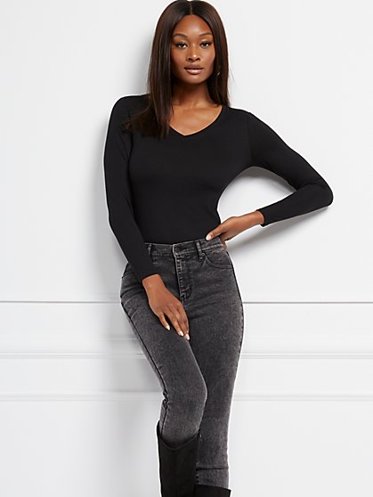 Cozy V-Neck Long-Sleeve Tee - New York & Company
