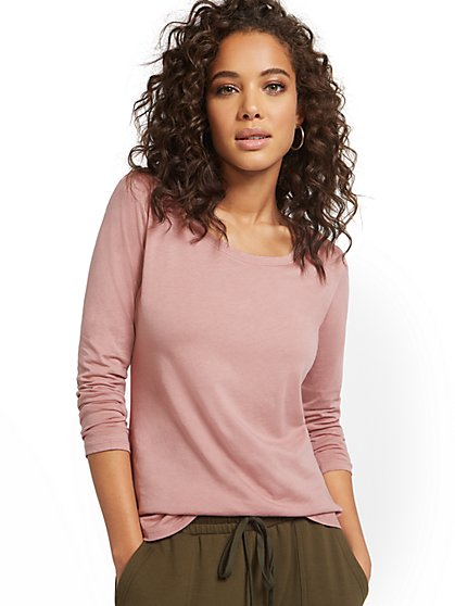 Crewneck Long-Sleeved Perfect Tee - New York & Company