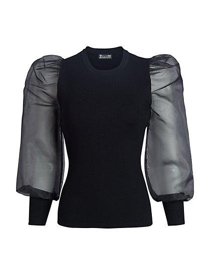Crewneck Organza Puff-Sleeved Top - New York & Company