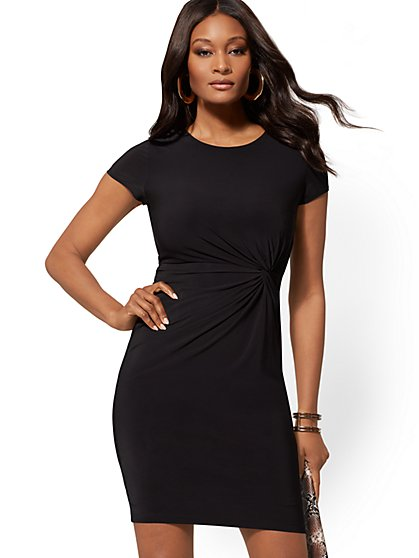 Crewneck Twist-Detail Sheath Dress - New York & Company