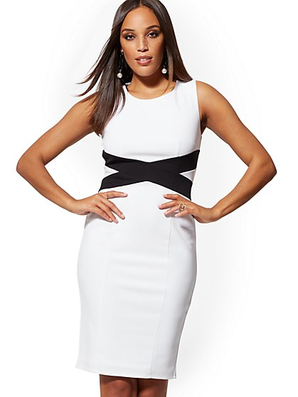 Crisscross Colorblock Sheath Dress - Magic Crepe - New York & Company