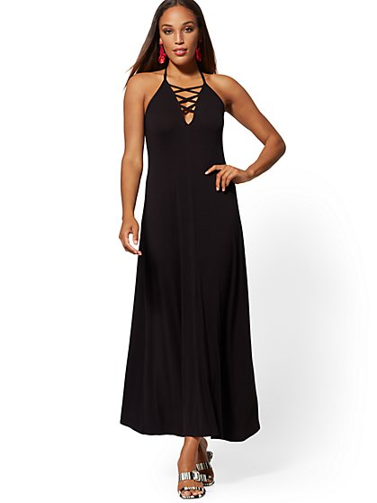 Crisscross Halter Maxi Dress - New York & Company
