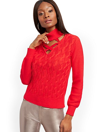 Crisscross Mock-Neck Cable Sweater - New York & Company