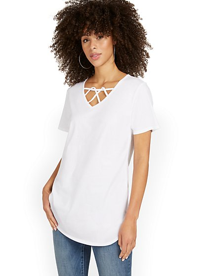 Crisscross-Neck Perfect Tunic Top - New York & Company