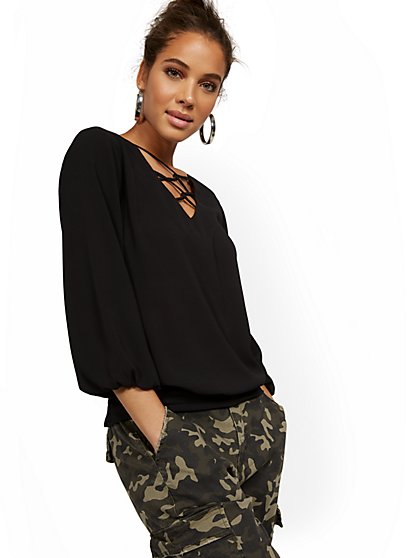 Crisscross V-Neck Blouse - New York & Company