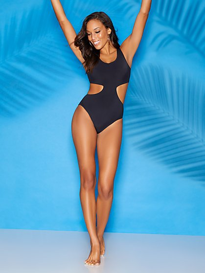 Cristi Black Cutout One-Piece Swimsuit - Sweet Pea Swimwear - New York & Company