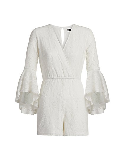 Crochet Bell-Sleeve Romper - New York & Company