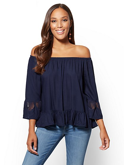 Crochet-Detail Off-The-Shoulder Top - New York & Company