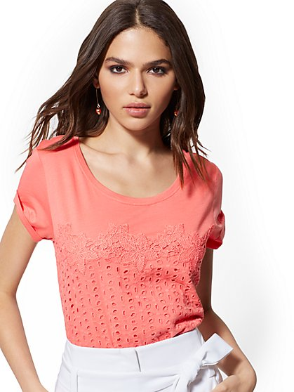 Crochet & Eyelet Cotton Tee - New York & Company