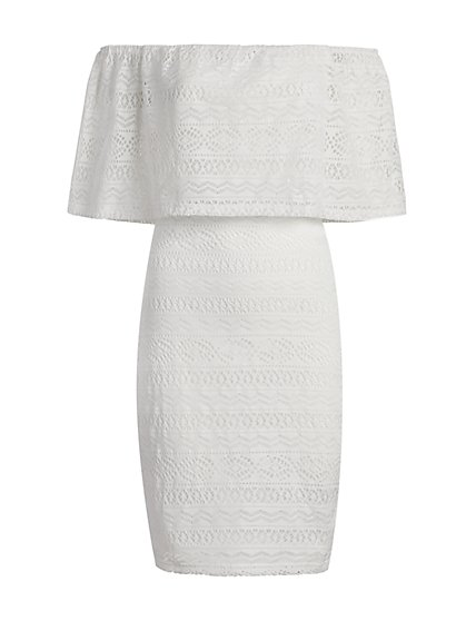 Crochet Off-The-Shoulder Sheath Dress - New York & Company
