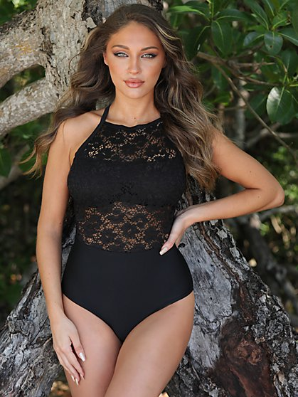 Crochet One-Piece Swimsuit - NY&C Swimwear - New York & Company