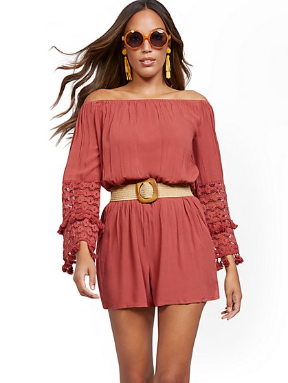 Crochet-Sleeve Off-The-Shoulder Romper - New York & Company