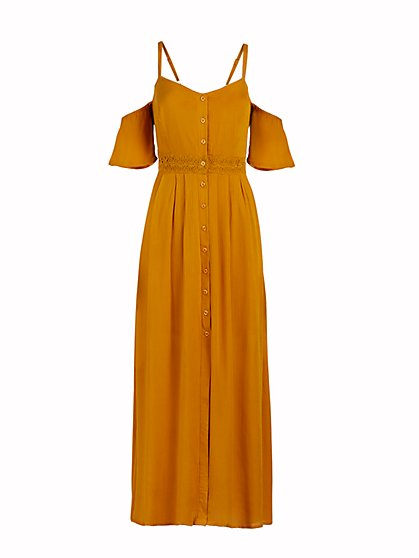 Crochet-Trim Cold-Shoulder Maxi Dress - New York & Company