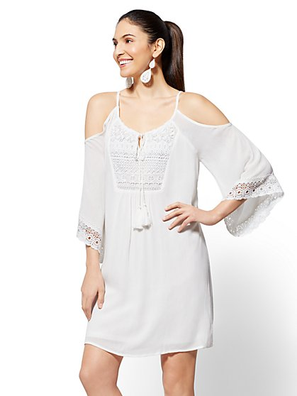 Crochet-Trim Cold-Shoulder Shift Dress - New York & Company