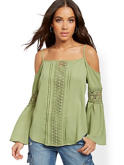 Crochet-Trim Cold-Shoulder Top - Lily & Cali - New York & Company
