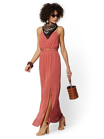 Crochet-Trim Maxi Dress - New York & Company