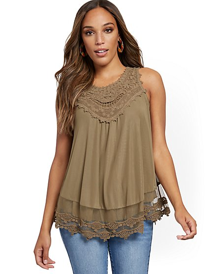 Crochet-Trim Mesh Tank Top - New York & Company