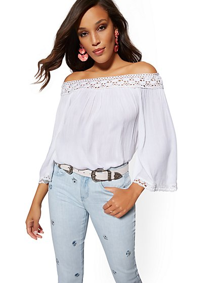 Crochet-Trim Off-The-Shoulder Top - New York & Company