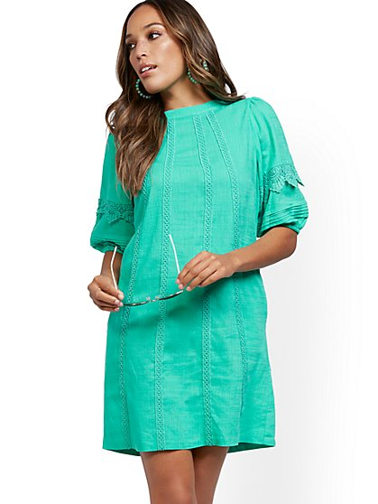Crochet-Trim Puff-Sleeve Linen Blend Dress - New York & Company