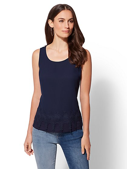 Crochet-Trim Scoopneck Top - New York & Company