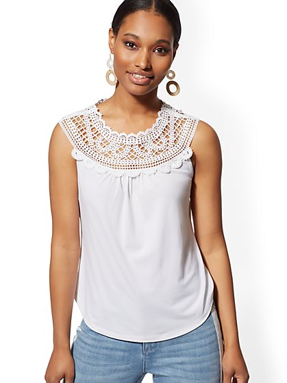 Crochet-Trim Sleeveless Top - 7th Avenue - New York & Company