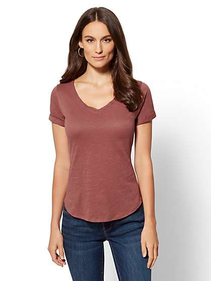 Crochet-Trim Tee - New York & Company