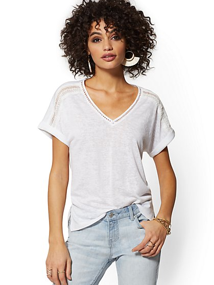 Crochet-Trim V-Neck Tee - New York & Company