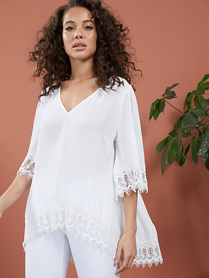 Crochet-Trim V-Neck Tunic Top - New York & Company