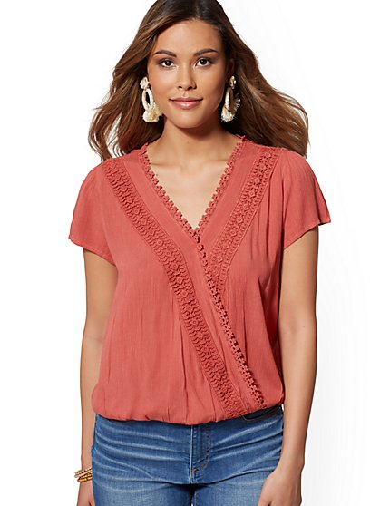 Crochet-Trim Wrap Blouse - New York & Company