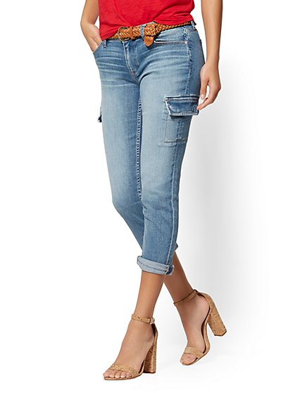 Crop Cargo Boyfriend - Mighty Blue - Soho Jeans - New York & Company