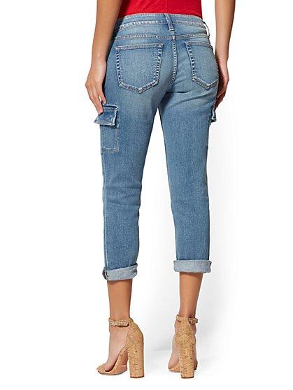 888129846 ... Crop Cargo Boyfriend - Mighty Blue - Soho Jeans - New York & Company