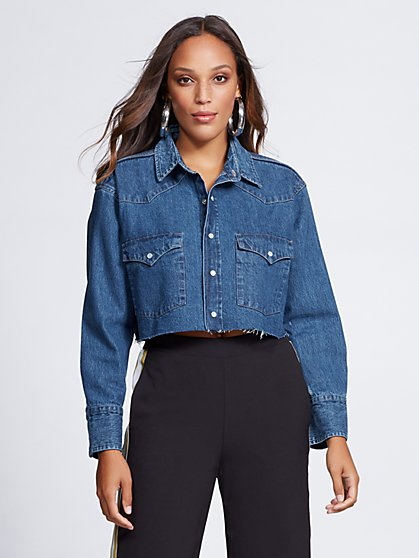 Crop Denim Shirt - Gabrielle Union Collection - New York & Company