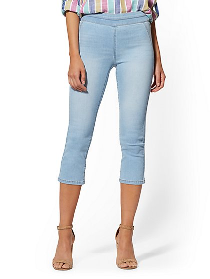 Crop Pull-On Jeans - Blue Supreme - New York & Company