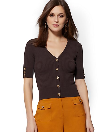 Crop V-Neck Cardigan - 7th Avenue - New York & Company