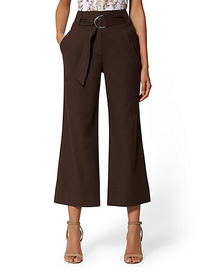 Crop Wide Leg Pant - Signature Fit - Brown - 7th Avenue - New York & Company