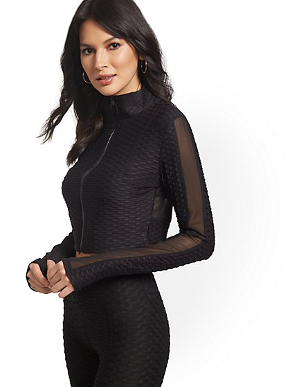 Cropped Mesh Cut-Out Jacket - New York & Company