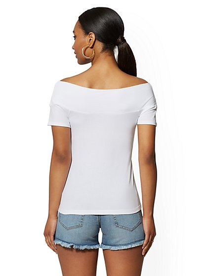 d8766525c862 ... Crossover Off-The-Shoulder Top - New York & Company