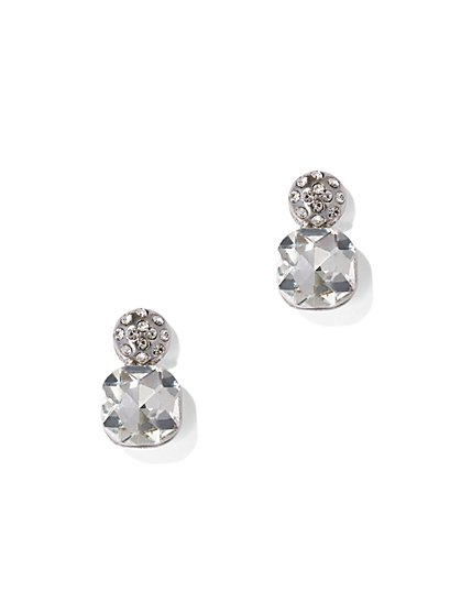 Cubic Zirconia Silvertone Drop Earring - New York & Company