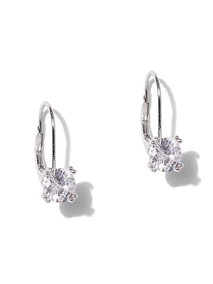 Cubic Zirconia Sterling Silver Leverback Earring - New York & Company