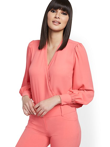 Cuffed-Sleeve Wrap Blouse - 7th Avenue - New York & Company