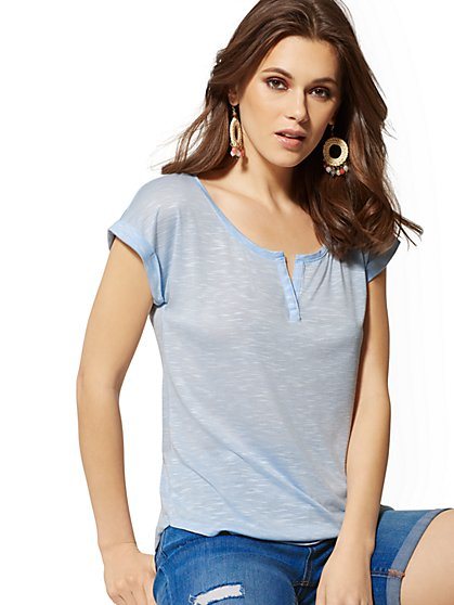 Cuffed Split Neck - Soho Soft Tee - New York & Company