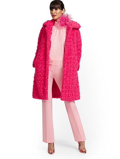 Curly Faux-Fur Coat - New York & Company