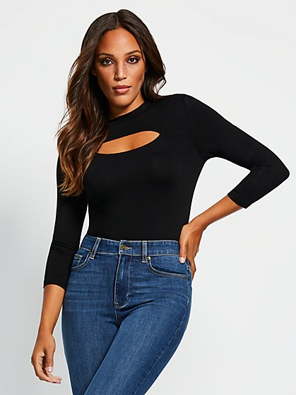 Cutout-Detail 3/4-Length Sleeve Bodysuit - New York & Company