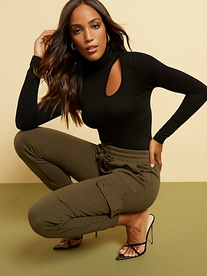 Cutout-Detail Turtleneck Bodysuit - New York & Company