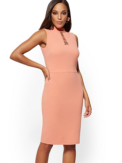 Cutout Sleeveless Bodycon Sheath Dress - Magic Crepe - New York & Company