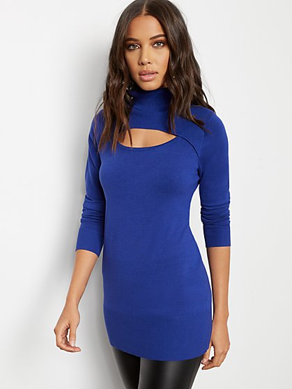 Cutout Turtleneck Sweater - 7th Avenue - New York & Company
